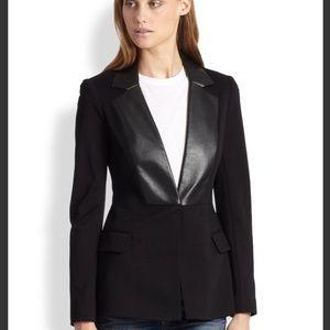 Bailey 44 Black Leather Lapel Blazer sz L